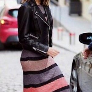 Zara Striped Metallic Thread Longsleeve Dress NWT